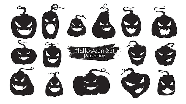 Spooky pompoenen silhouet collectie van halloween Premium Vector