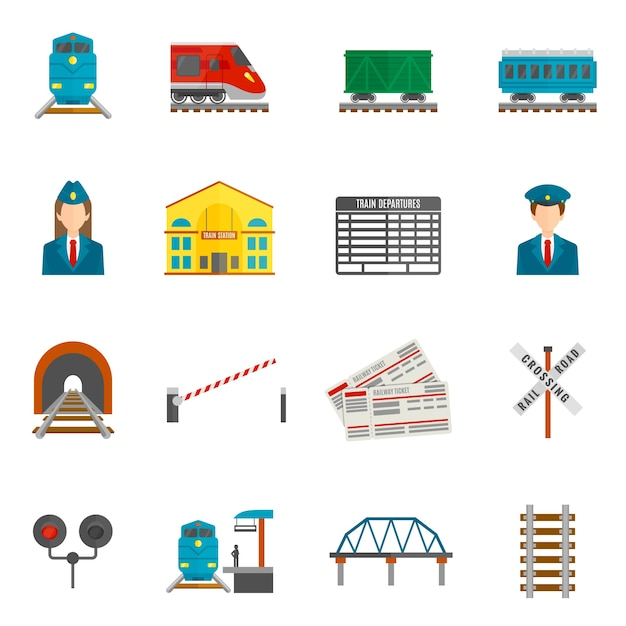 Spoorlijn icons set Gratis Vector
