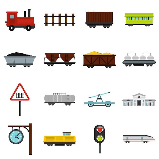 Spoorlijn instellen plat pictogrammen Premium Vector