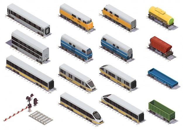 Spoorwegtrein isometrische elementen instellen met elektrische locomotief open goederenwagen en isometrische personenauto Gratis Vector