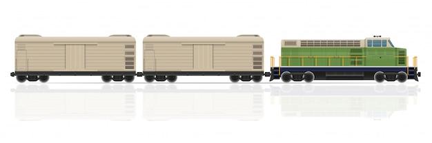 Spoorwegtrein met locomotief en wagens vectorillustratie Premium Vector
