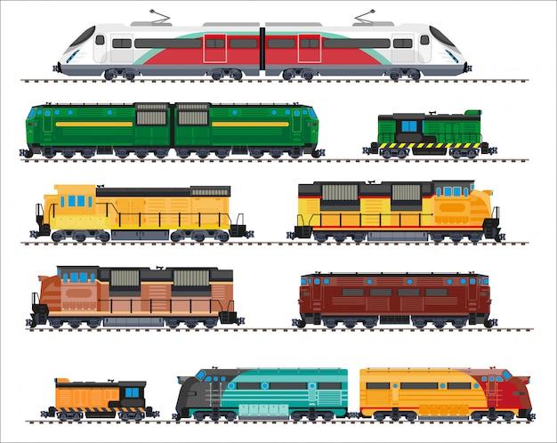 Spoorwegvervoer: locomotieven, treinen, wagens Premium Vector