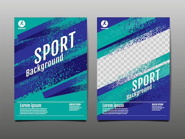Sport achtergrond, sjabloon lay-out Premium Vector