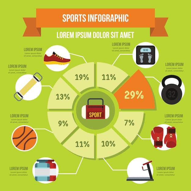Sport apparatuur infographic sjabloon, vlakke stijl Premium Vector