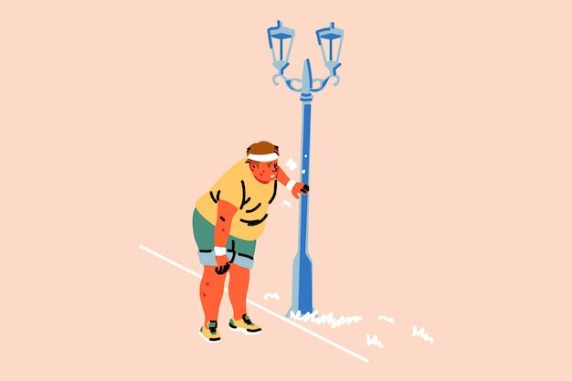 Sport, atletiek, vermoeidheid, joggen, overgewicht, kortademigheid concept Premium Vector