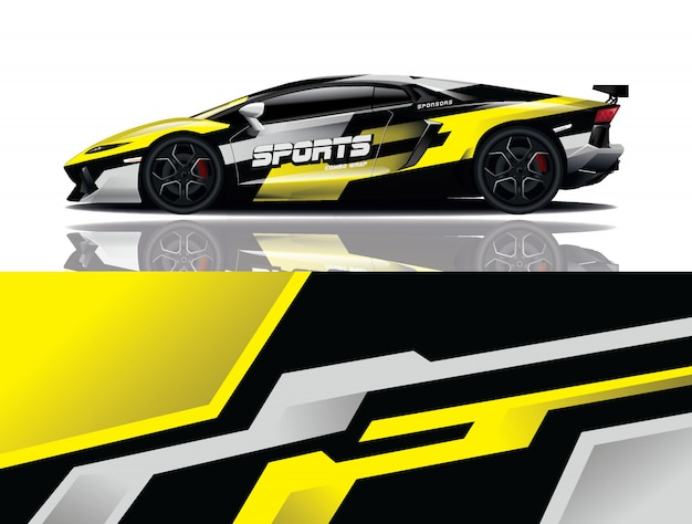 Sport auto sticker wrap illustratie Premium Vector