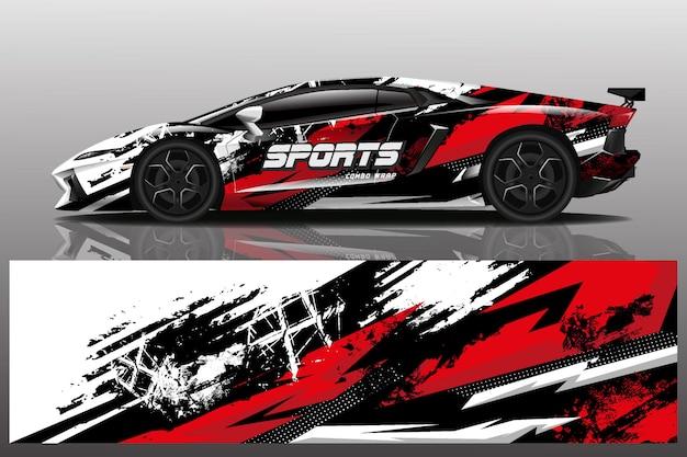 Sport auto sticker wrap illustratie Premium Vector