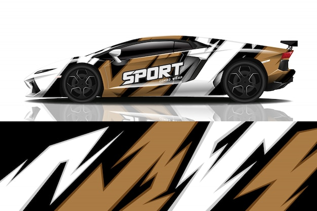 Sport auto sticker wrap ontwerp Premium Vector
