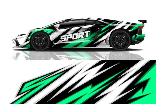 Sport auto sticker wrap ontwerp Premium Vector