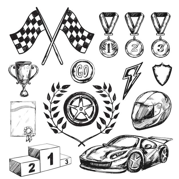 Sport award schets icon set Gratis Vector
