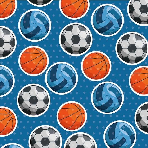 Sport ballen patroon Gratis Vector