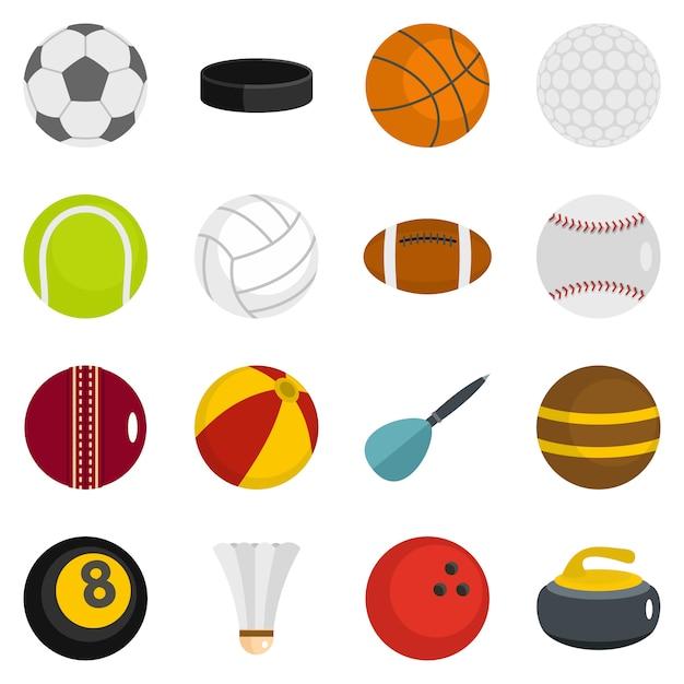 Sport ballen pictogrammen instellen in vlakke stijl Premium Vector