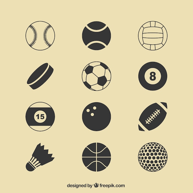 Sport ballen pictogrammen Gratis Vector