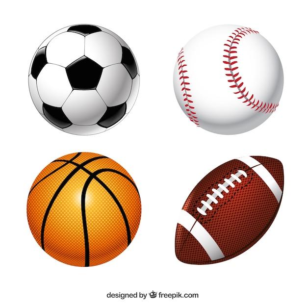 Sport ballen verzamelen Gratis Vector