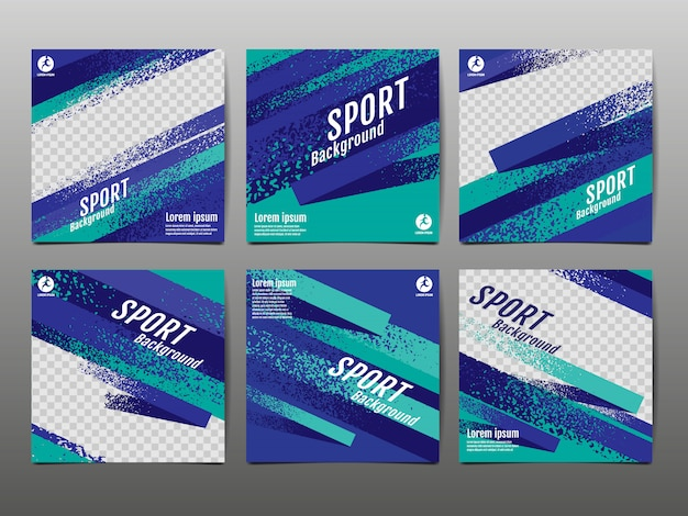 Sport banner social media, abstracte dynamische, grunge textuur. Premium Vector