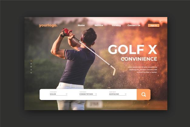 Sport bestemmingspagina met foto van man golfen Gratis Vector