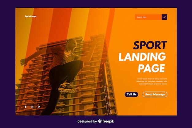 Sport-bestemmingspagina met foto Gratis Vector