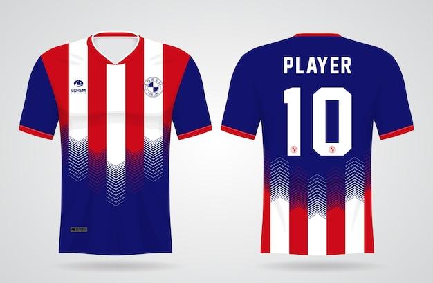 Sport blauwe en rode trui sjabloon voor teamuniformen en voetbal t-shirtontwerp Premium Vector