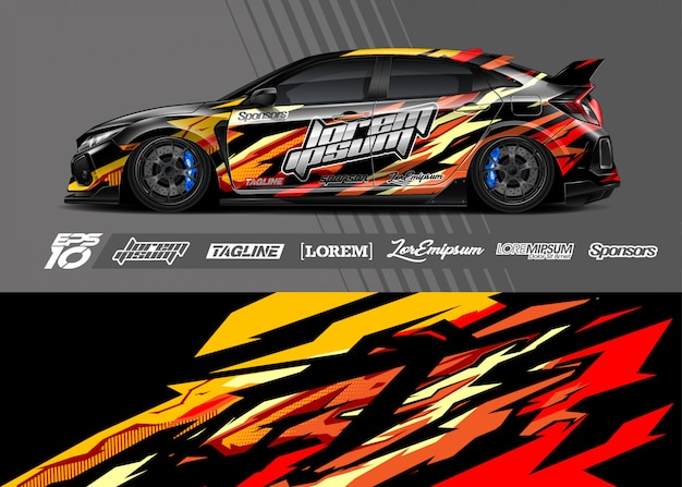 Sport car wrap ontwerpen Premium Vector