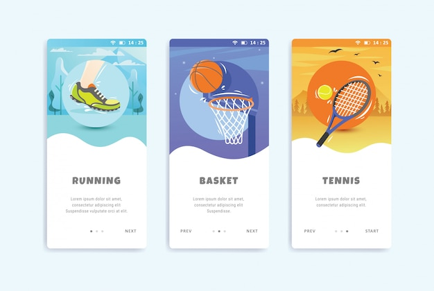 Sport concept onboarding schermen user interface kit sjabloon Premium Vector