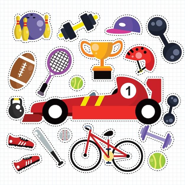 Sport doodle sticker patches set Premium Vector