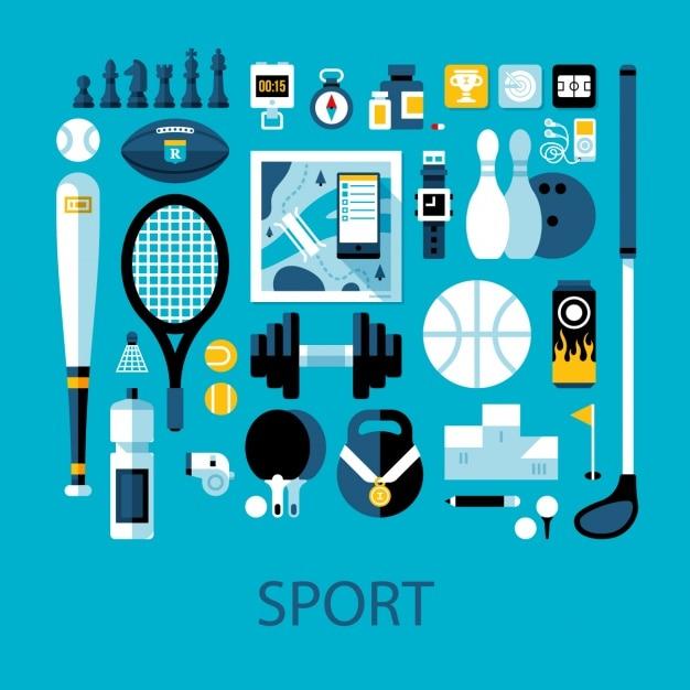Sport elementen collectie Gratis Vector
