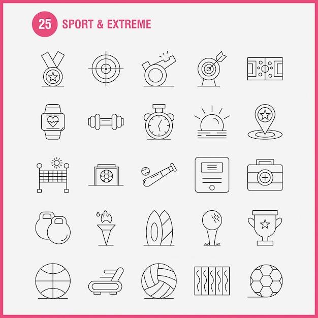 Sport en extreme lijnpictogrammen Gratis Vector