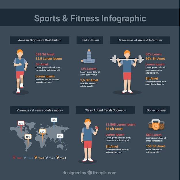 Sport en fitness infographic Gratis Vector