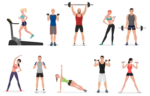Sport fitness gym mensen instellen Premium Vector