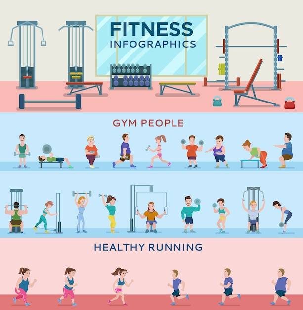 Sport fitness horizontale banners Gratis Vector