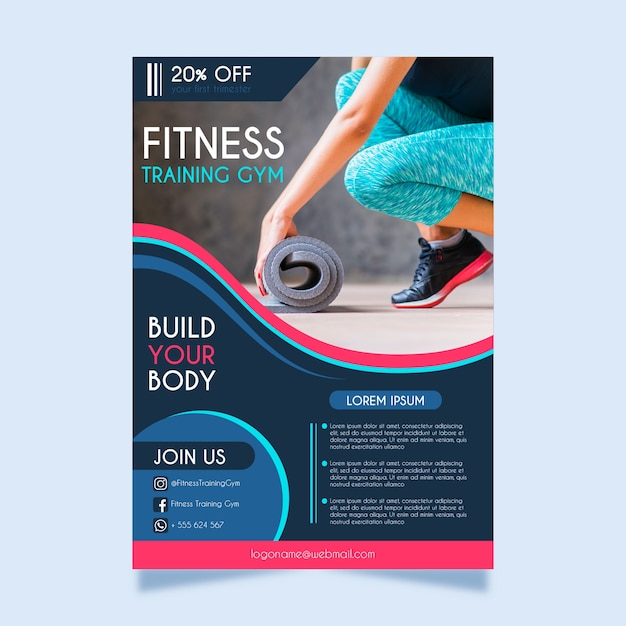Sport flyer fitness sjabloon met foto Gratis Vector