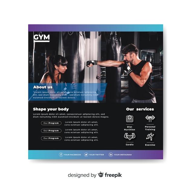 Sport flyer met foto Gratis Vector