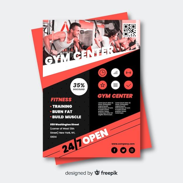 Sport flyer met stel je sjabloon voor Gratis Vector