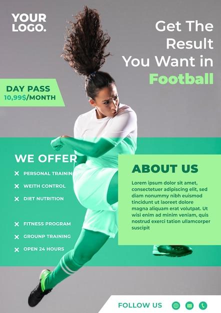 Sport flyer ontwerp voetbalevenement Gratis Vector