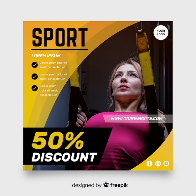Sport folder met fotosjabloon Gratis Vector
