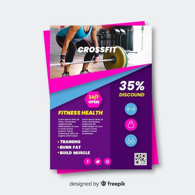 Sport folder met fotosjabloon Gratis Vector