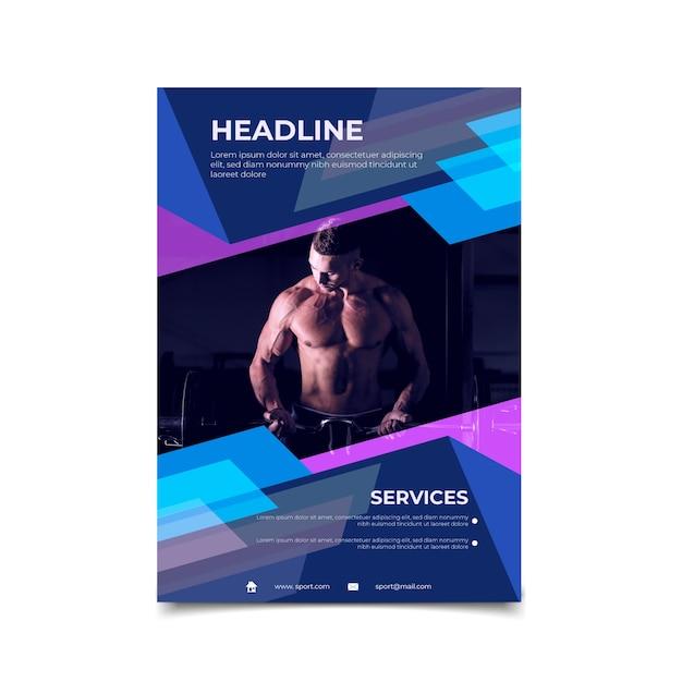 Sport folder sjabloon met afbeelding Gratis Vector