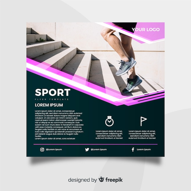Sport folder sjabloon met foto Gratis Vector