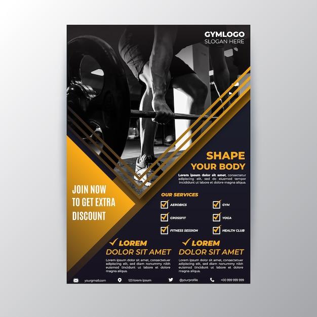 Sport folder sjabloon met foto Gratis Vector
