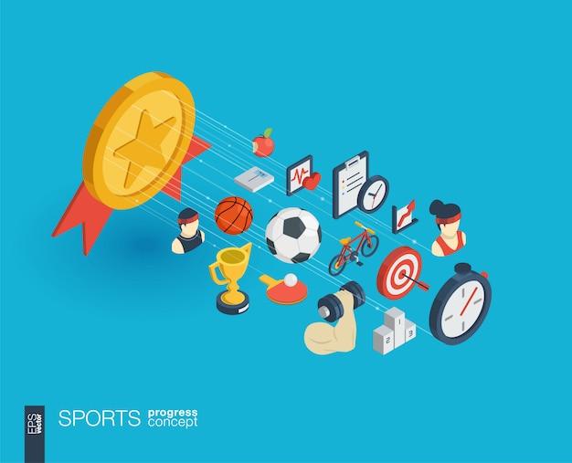 Sport geïntegreerde web iconen. digitaal netwerk isometrisch vooruitgangsconcept. verbonden grafisch lijngroeisysteem. abstracte achtergrond voor gezond, lifestyle, fitness en gym. infograph Premium Vector