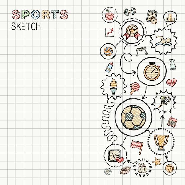 Sport hand tekenen geïntegreerde pictogrammen ingesteld op papier. kleurrijke schets infographic illustratie. verbonden doodle kleurenpictogrammen, zwemmen, voetbal, voetbal, spel, fitness, activiteit concept Premium Vector