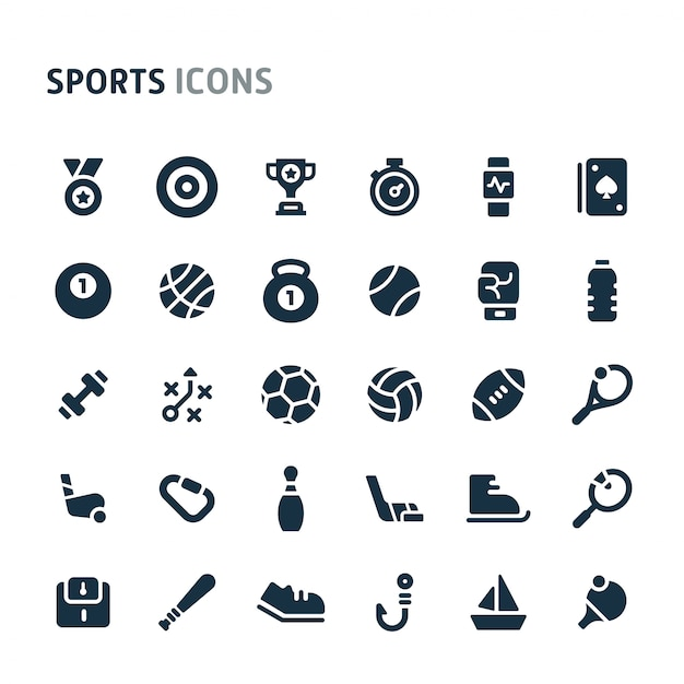 Sport icon set. fillio black icon-serie. Premium Vector