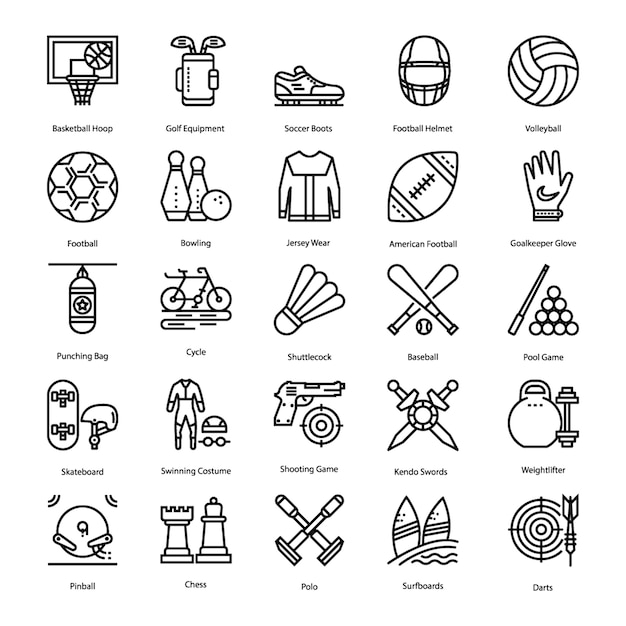 Sport icons set Premium Vector