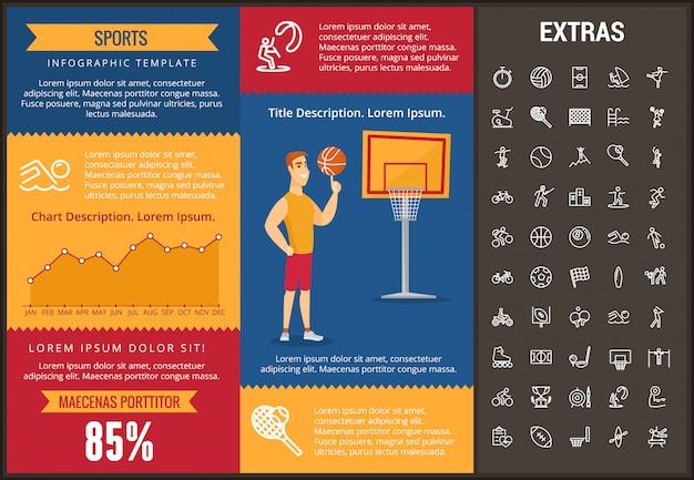 Sport infographic sjabloon, elementen en pictogrammen Premium Vector