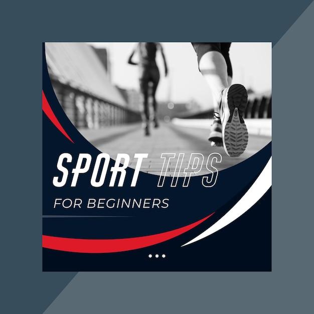 Sport instagram postsjabloon Gratis Vector