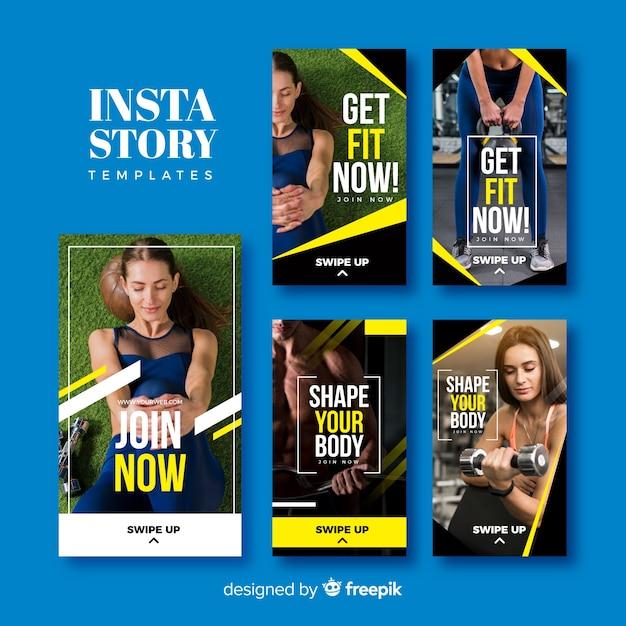 Sport instagram verhalen sjabloonverzameling Gratis Vector
