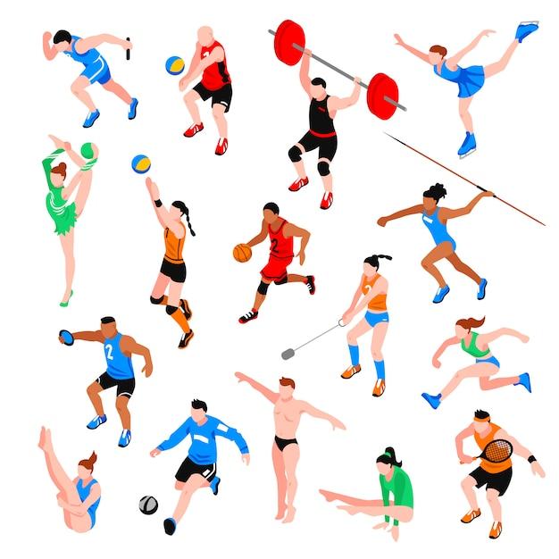 Sport isometrische set Gratis Vector