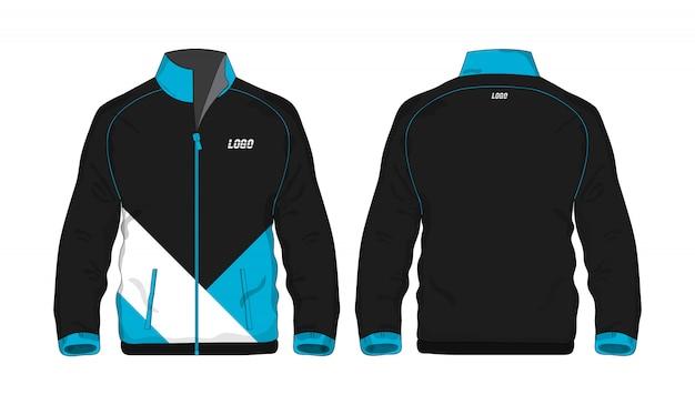 Sport jas blauw en zwart sjabloon voor ontwerp op witte achtergrond. vector illustratie eps 10. Premium Vector