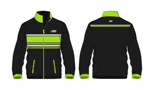 Sport jas groen en zwart sjabloon voor ontwerp op witte achtergrond. vector illustratie eps 10. Premium Vector