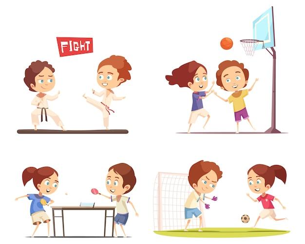 Sport kids scene collectie Gratis Vector